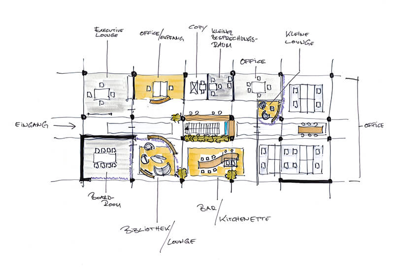 Konzept Innenarchitektur Showroom